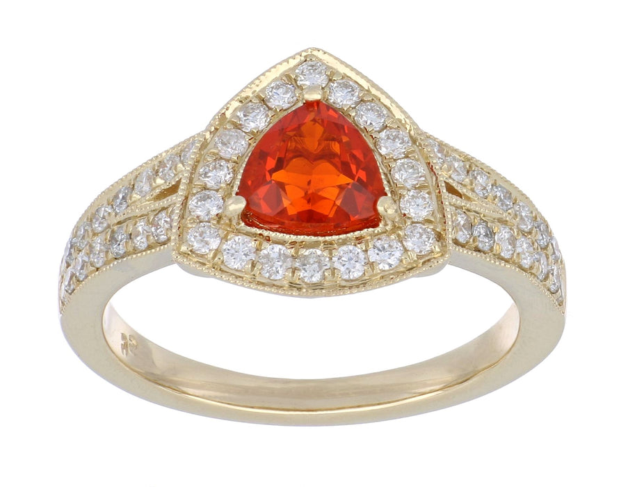 Fire Opal Ladies Ring (Fire Opal 0.54 cts. White Diamond 0.52 cts.)