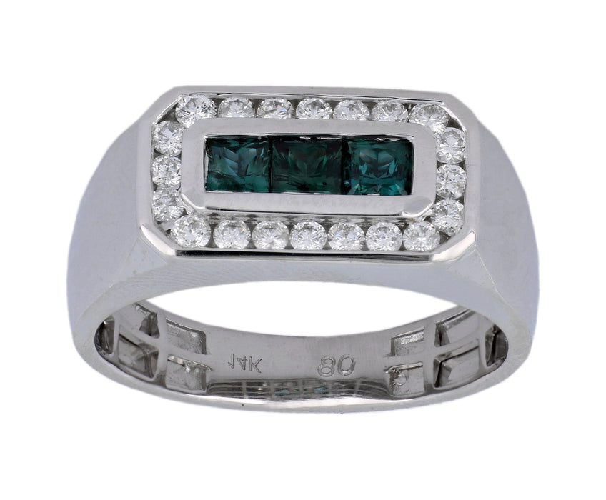 Alexandrite Men's Ring (Alexandrite 0.79 cts. White Diamond 0.48 cts.)