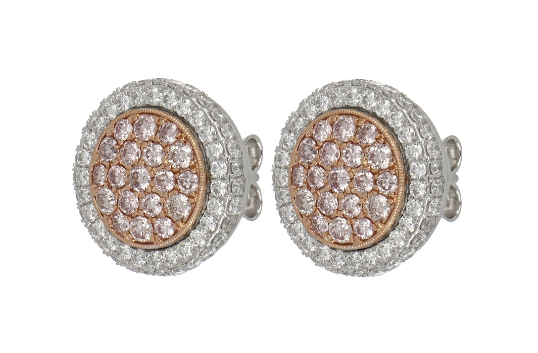 Pink Diamond Ladies Earrings (Pink Diamond 0.89 cts. White Diamond 1.21 cts.)