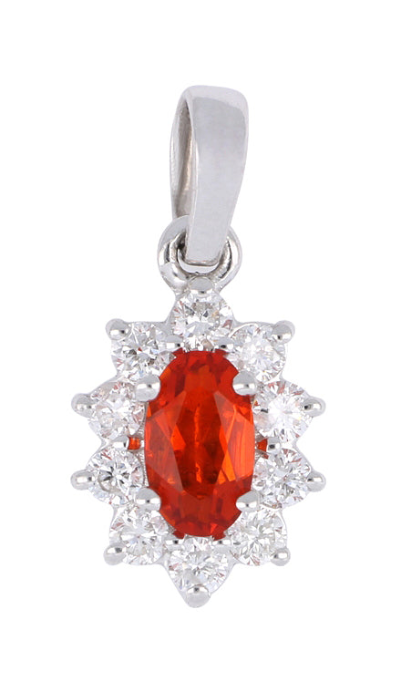 Fire Opal Ladies Pendant (Fire Opal 0.15 cts. White Diamond 0.18 cts.)