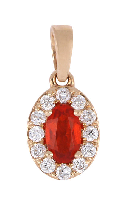 Fire Opal Ladies Pendant (Fire Opal 0.14 cts. White Diamond 0.11 cts.)
