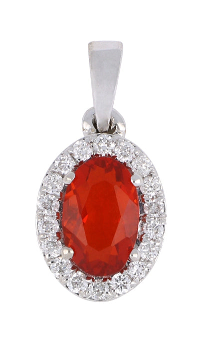 Fire Opal Ladies Pendant (Fire Opal 0.3 cts. White Diamond 0.09 cts.)