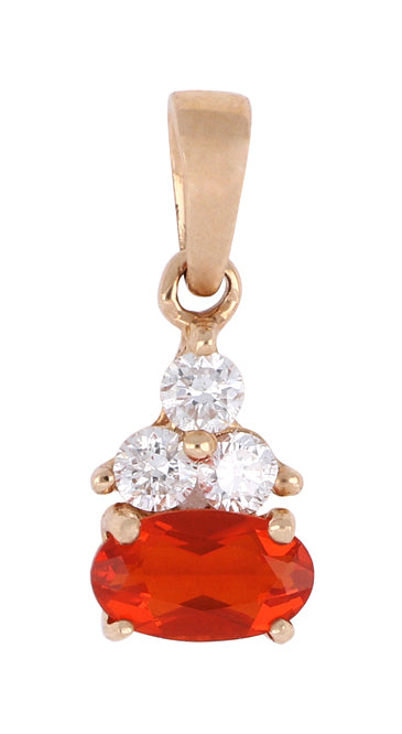 Fire Opal Ladies Pendant (Fire Opal 0.14 cts. White Diamond 0.08 cts.)