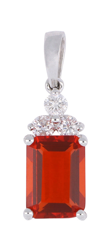 Fire Opal Ladies Pendant (Fire Opal 0.76 cts. White Diamond 0.09 cts.)