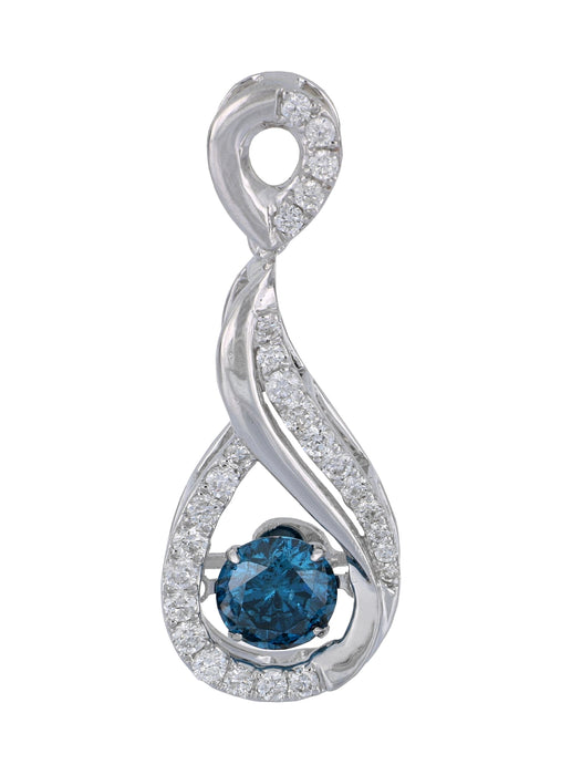 Blue Diamond Ladies Pendant (Blue Diamond 0.75 cts. White Diamond 0.39 cts.)