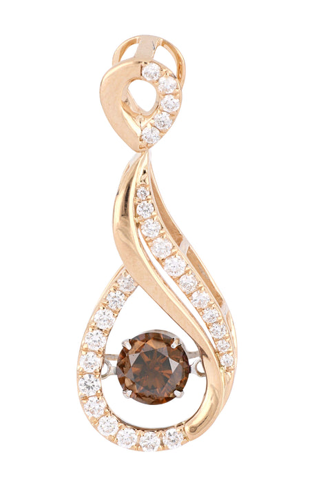 Caribbean Wave Brown and White Diamond Pendant (Brown Diamond 0.8 cts. White Diamond 0.37 cts.)