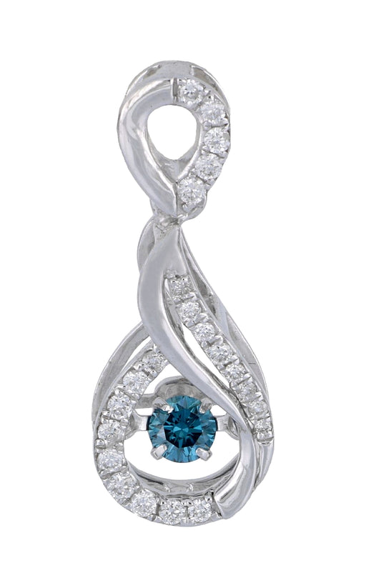 Caribbean Wave Blue Diamond Pendant with 0.10ct Center