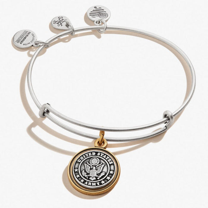 ALEX AND ANI U.S. Army Charm Bangle Two Tone