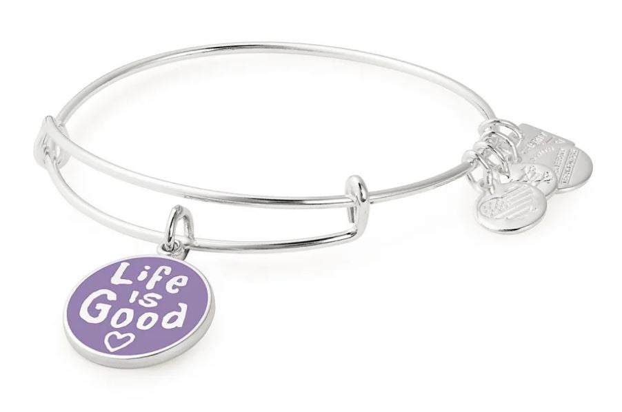 ALEX AND ANI Life is Good Bangle Shiny Silver