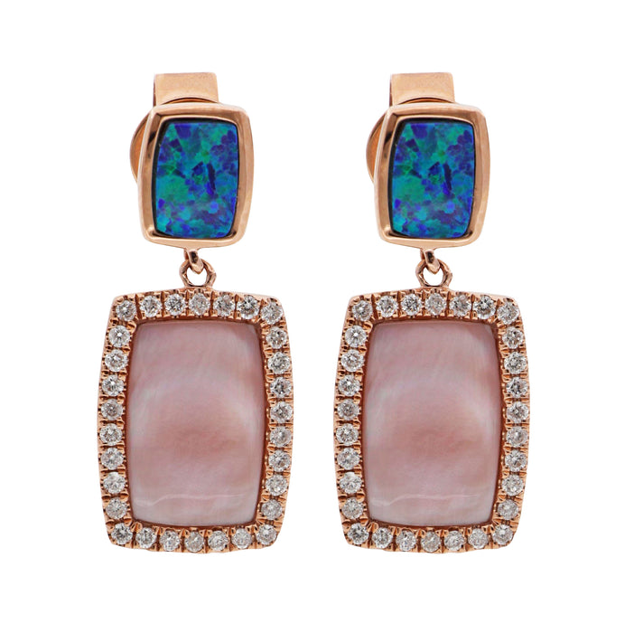 Pink Mother of Pearl and Inlay Opal Ladies Earrings (White Diamond 0.3cts)
