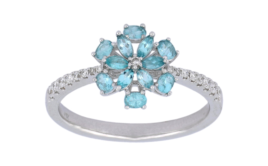 Paraiba Tourmaline Ladies Ring (Paraiba Tourmaline 0.25 cts. White Diamond 0.13 cts.)