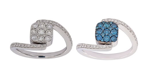 Happy Hour Blue and White Diamond Ring