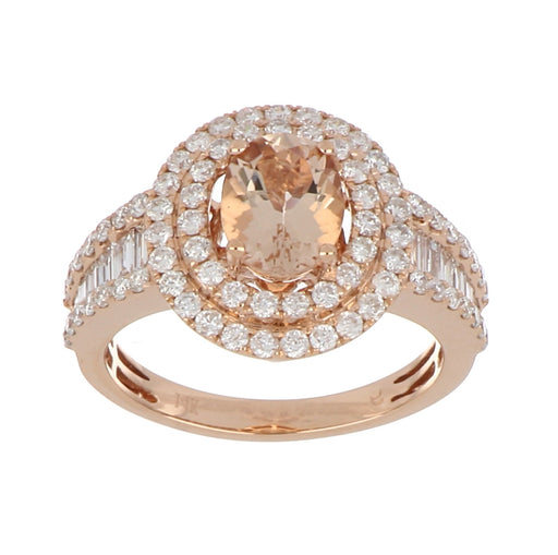 Morganite Ladies Ring (Morganite 1.21 cts. White Diamond 0.79 cts. White Diamond 0.34 cts)