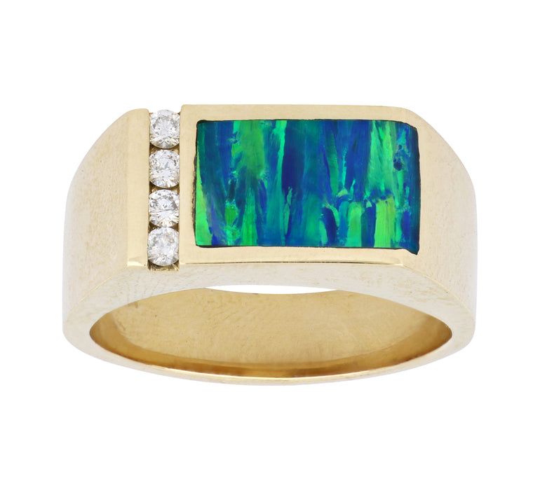 Inlay Opal Men's Ring (Inlay Opal  White Diamond 0.2 cts.)