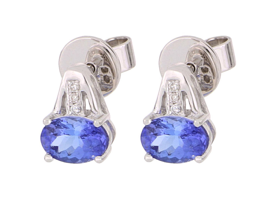 Tanzanite Ladies Earrings (Tanzanite 1.13 cts White Diamond 0.02 cts)