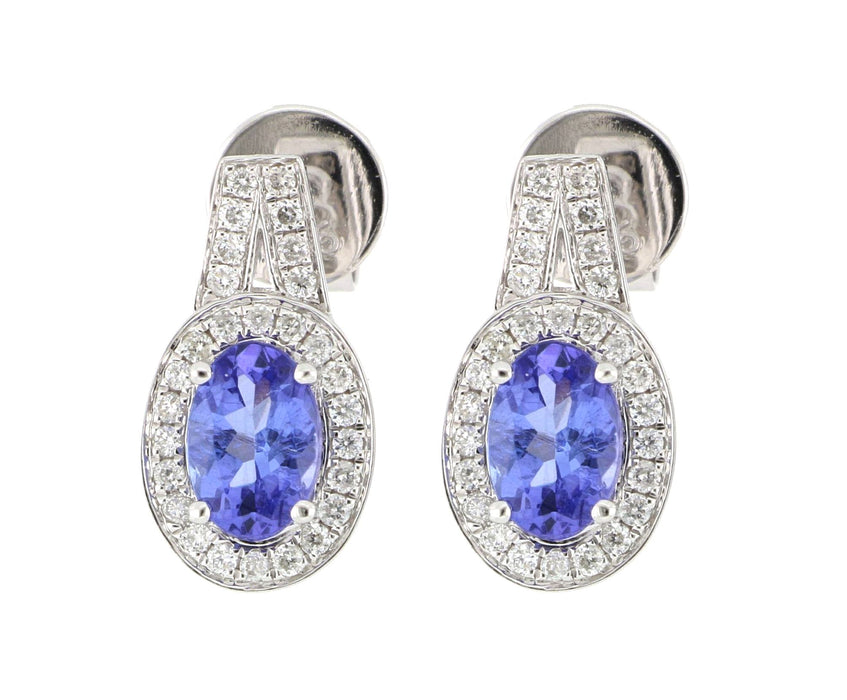 Tanzanite Ladies Earrings (Tanzanite 1.03cts White Diamond 0.21cts)