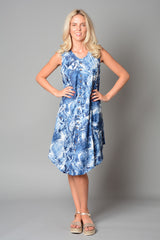 Ladies Jean Print Umbrella Cut Dress w/ Pocket Button (Pack of 18) £4.00 Per Garment