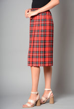 "Ladies 27"" Elasticated Waist Box Pleat Tartan Skirt (Pack of 8) £4.00 Per Garment"