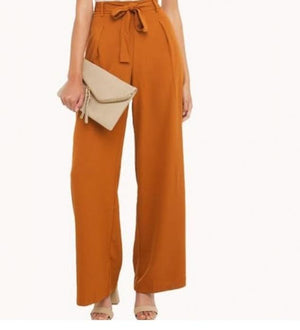 High-Waist Orange Tie Pants - Hifza Apparel