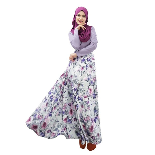 Muslim Party Wear Long Sleeve Floral Maxi Dress - Hifza Apparel