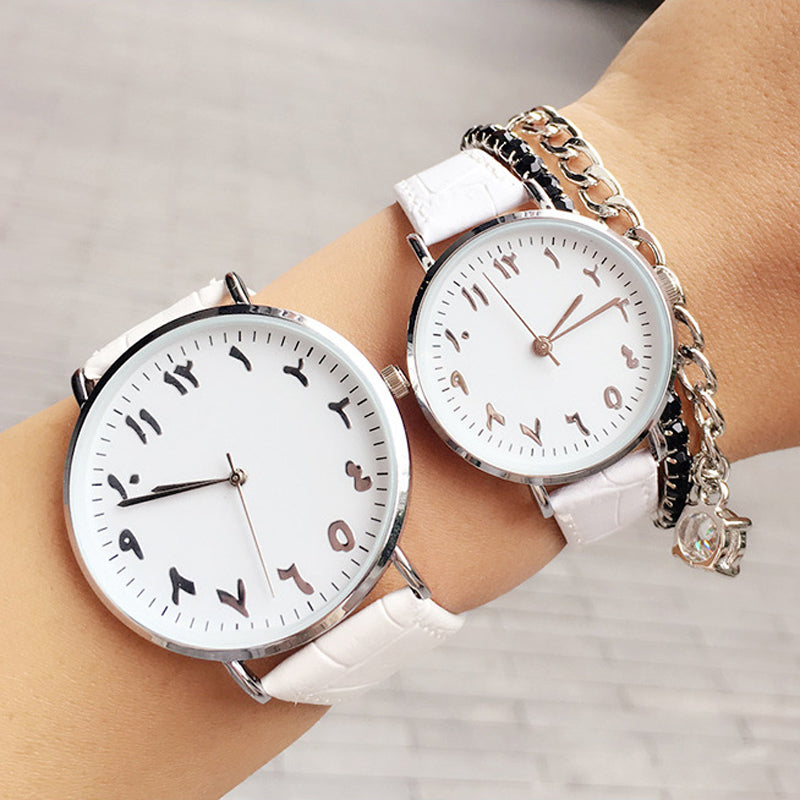 Arabic Numeral Classic Couple Wrist Watch - Hifza Apparel