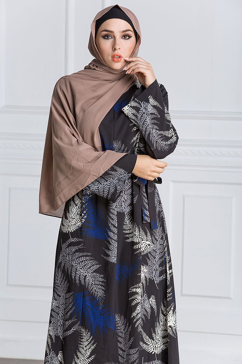Zipper Leaves Prints Full Sleeve Dress - Hifza Apparel