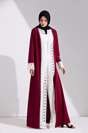 White Laced Front Open Abaya - Hifza Apparel