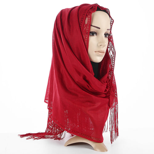 Hollow Flower Premium Cotton Hijab - Hifza Apparel