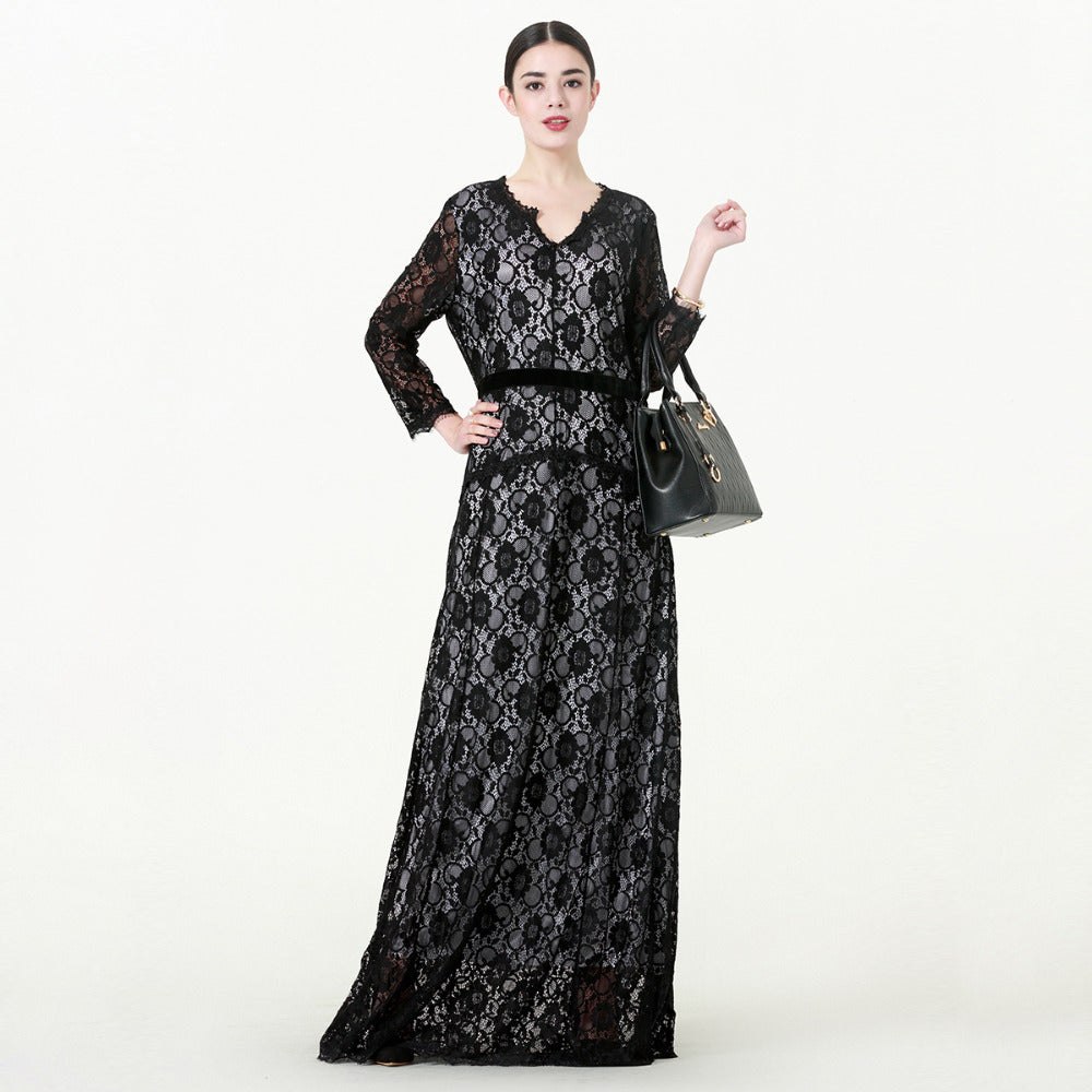 Elegant Lace Mesh Patchwork  Dress - Hifza Apparel