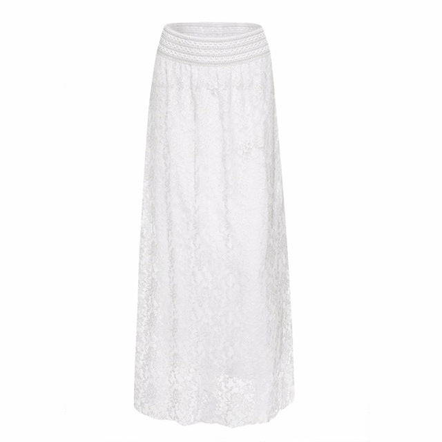 White Lace Long Skirt - Hifza Apparel