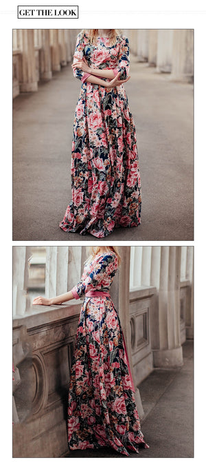Bohemian Floral Print Dress - Hifza Apparel