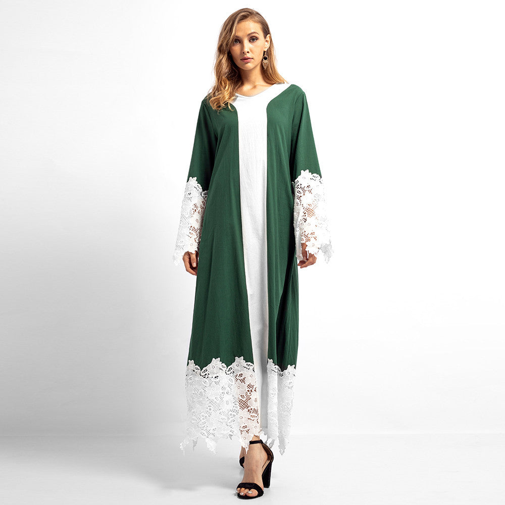 Lace Patchwork Long Sleeves Maxi  Dress - Hifza Apparel