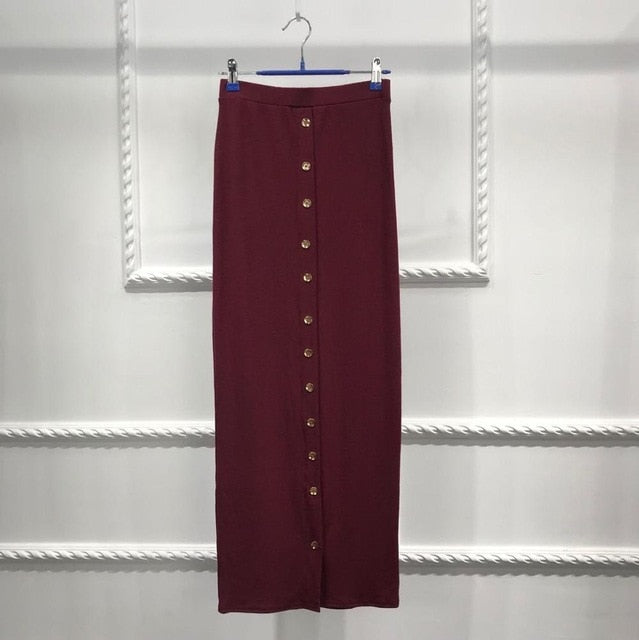 Front Button Pencil Skirt - Hifza Apparel
