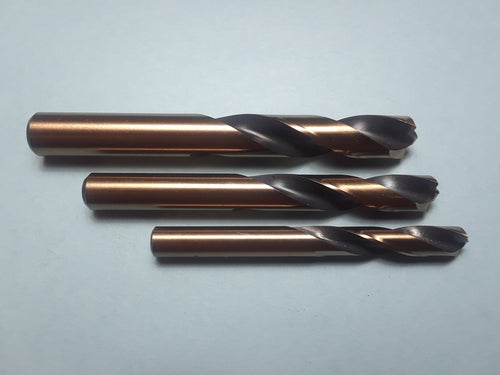 Item #1001     3) piece set of HSS Pilot Point Spot Weld Cutters. 1/4, 5/16, and 3/8 inch. Made in the USA