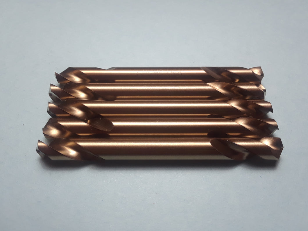 Item #1555     5 of 1/4 inch double ended HSS Drill Bits. Made in the USA