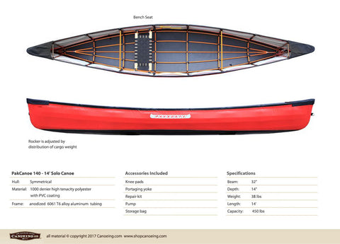 PakCanoe 140 - 14' Solo Folding Canoe by Pakboats