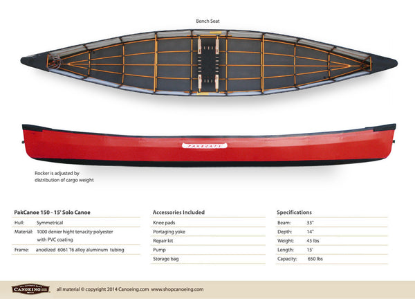 PakCanoe 150 - 15' Solo Folding Canoe by Pakboats