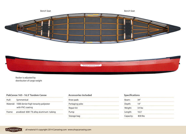 PakCanoe 165 - 16.5' Tandem Folding Canoe by Pakboats