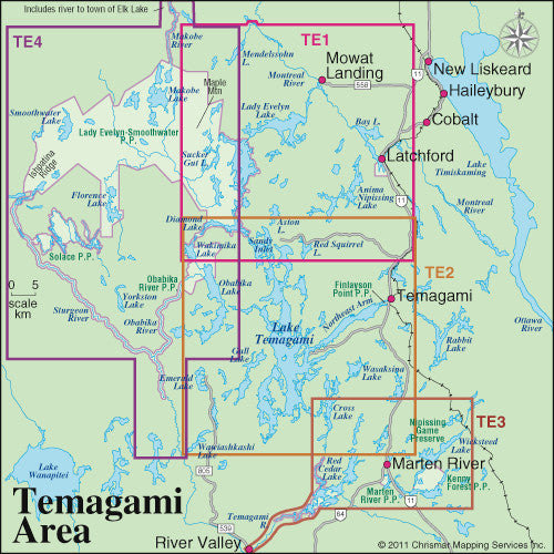 Temagami 3 Marten River/Temagami River Area Map