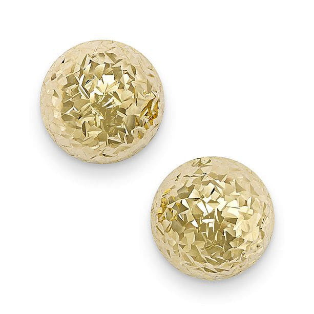14mm Diamond-Cut Studs ~ Yellow Gold