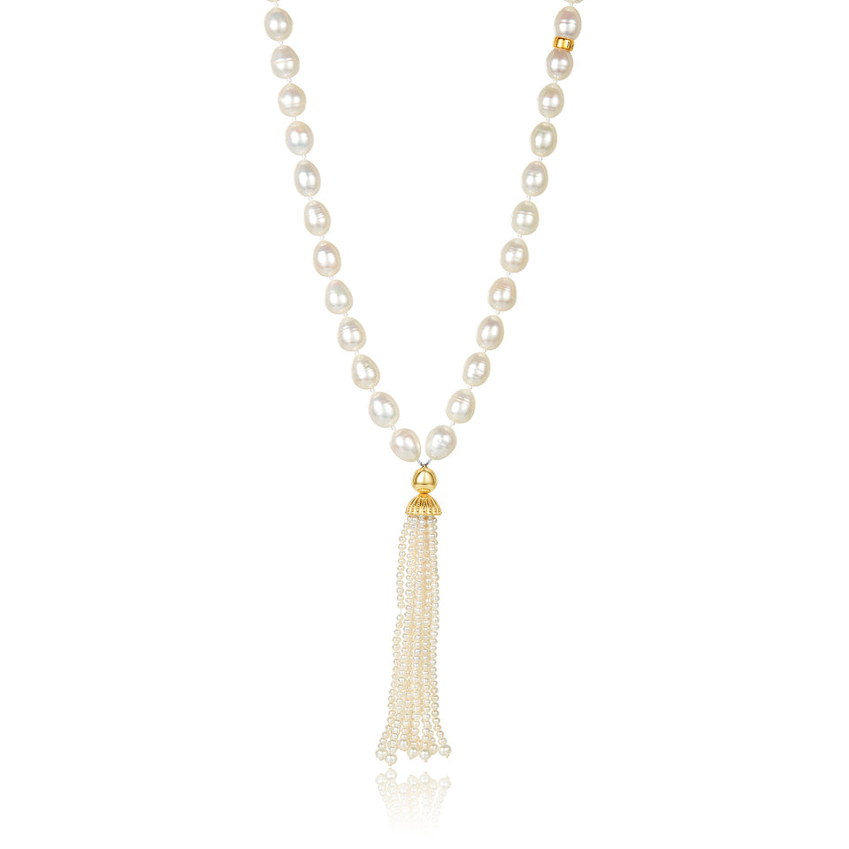 Double Tassel Pearl Necklace