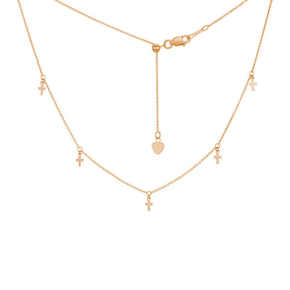Five Mini Cross Charms Necklace ~ White & Yellow Gold