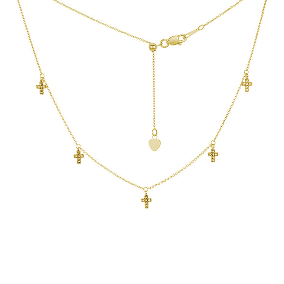 Five Mini Cross Charms Necklace ~ Yellow Gold & White Topaz