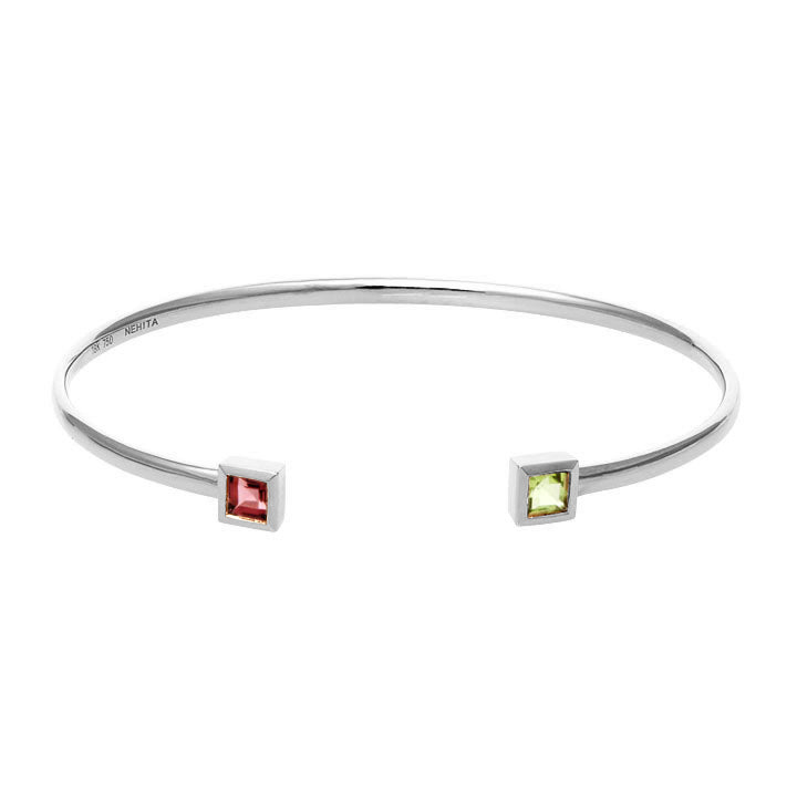 White Gold Cuff Bangle ~ Garnet & Peridot