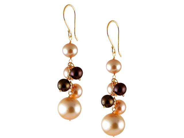 Champagne & Brown Freshwater Cluster Earring
