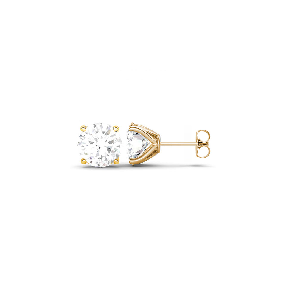 Twin Studs ~ 4 Prongs Cz Solitaire & Yellow Gold Ball