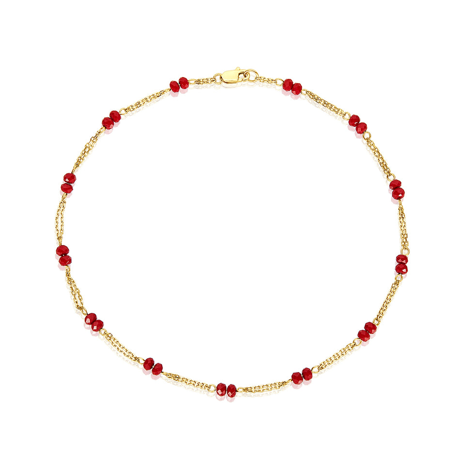 14kt Red Crystal Anklet