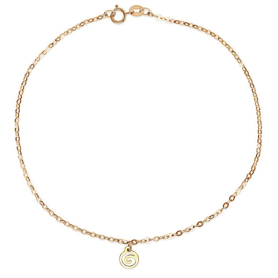 Yellow Gold Single Charm Anklet