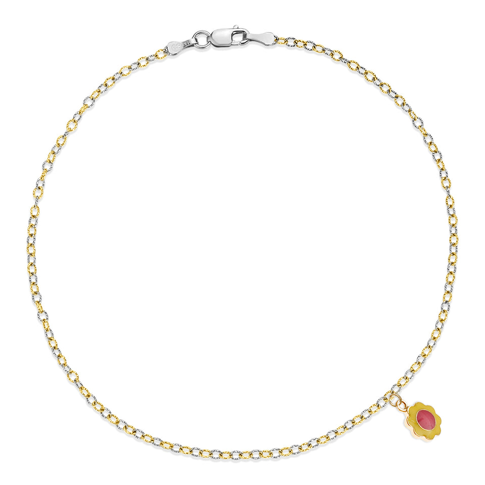 Nehita Two Tone Gold Daisy Anklet