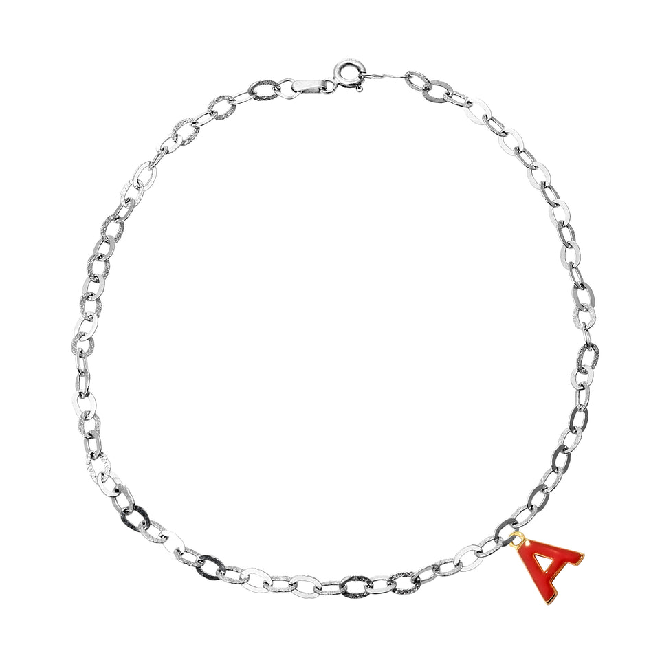 White Gold A Charm Anklet